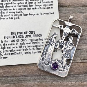 Two of Cups Love Pendant Sterling Silver Amethyst